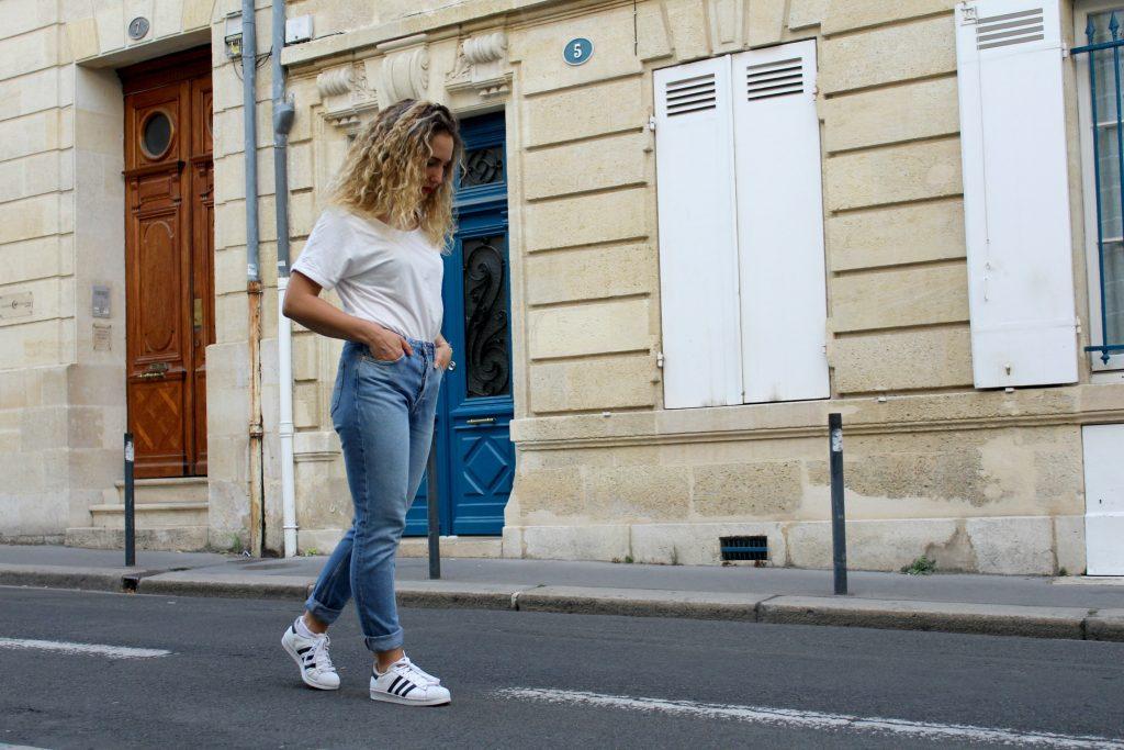 Jean mom mum - tee-shirt blanc