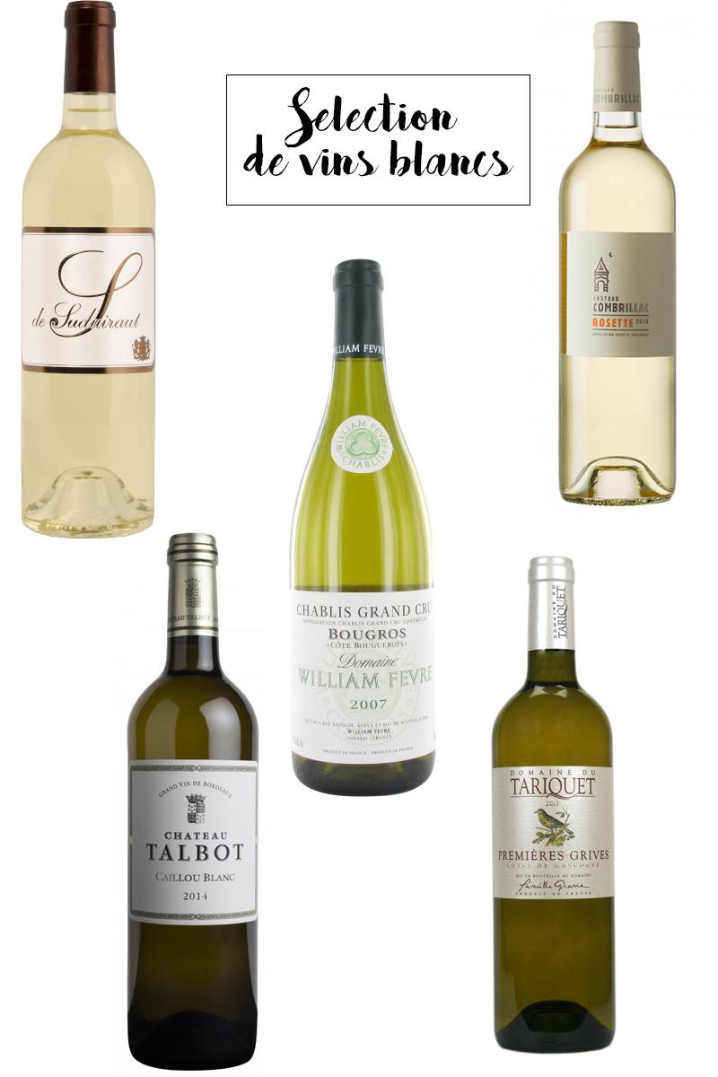 sélection de vins blancs