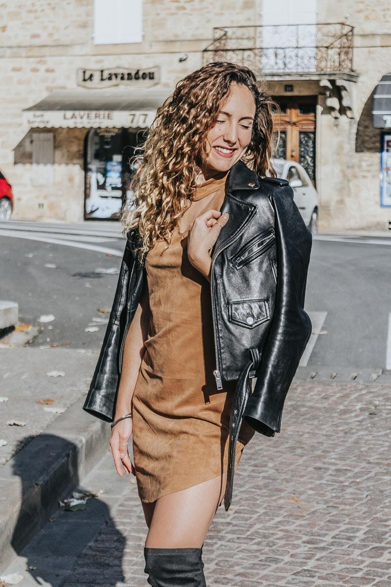 robe suédine camel cuissardes