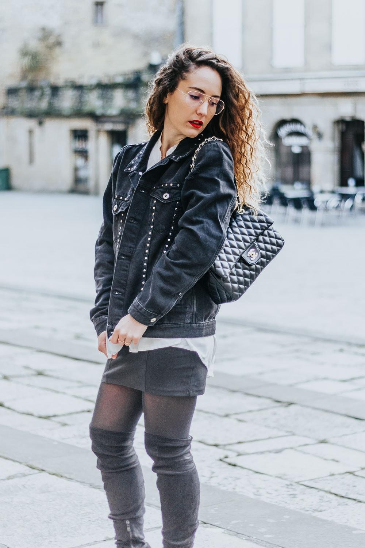 veste jean clouté, Zara, Chanel bag, blog Bordeaux