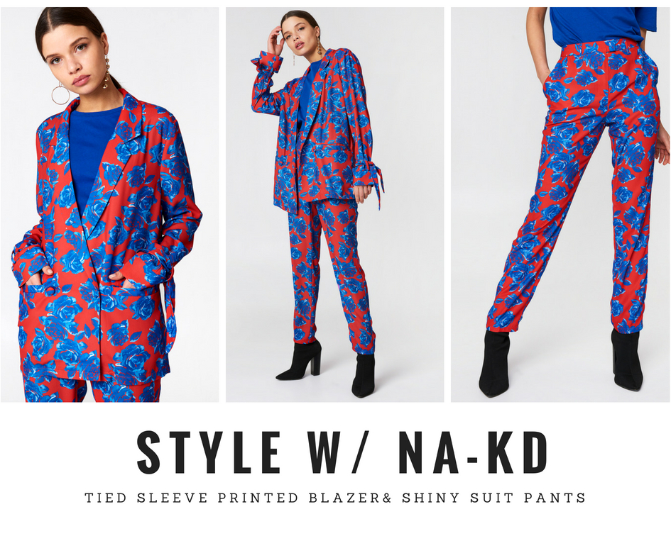 Tailleur, Tied Sleeve Printed Blazer, Shiny Suit Pants, NAKD