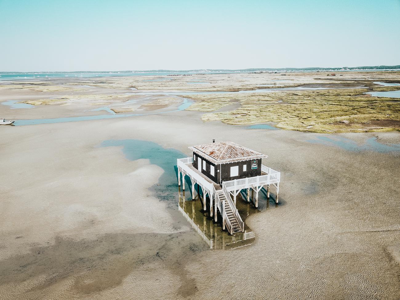 cabanes tchanquées, bassin arcachon, drone, blog