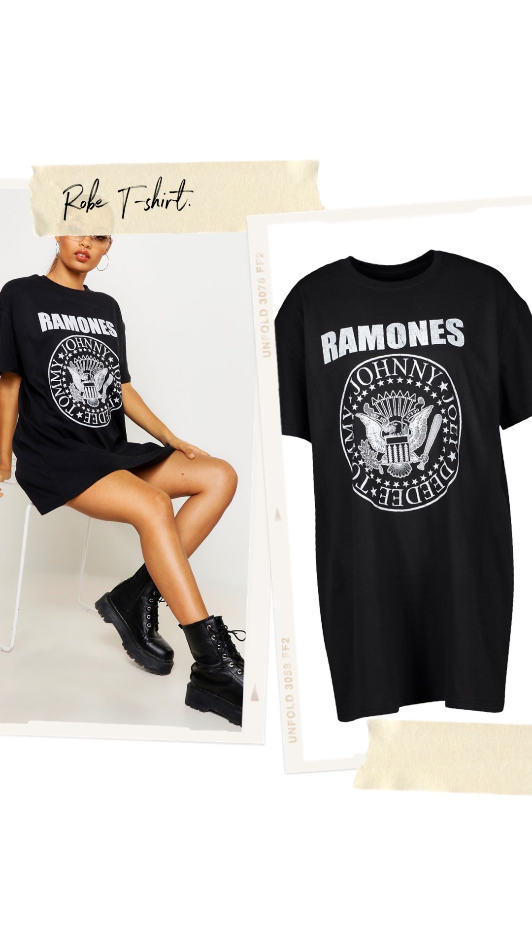 Robe t-shirt Ramones officiel https://fr.boohoo.com/robe-t-shirt-ramones-officiel/FZZ85064.html Code produit : FZZ85064