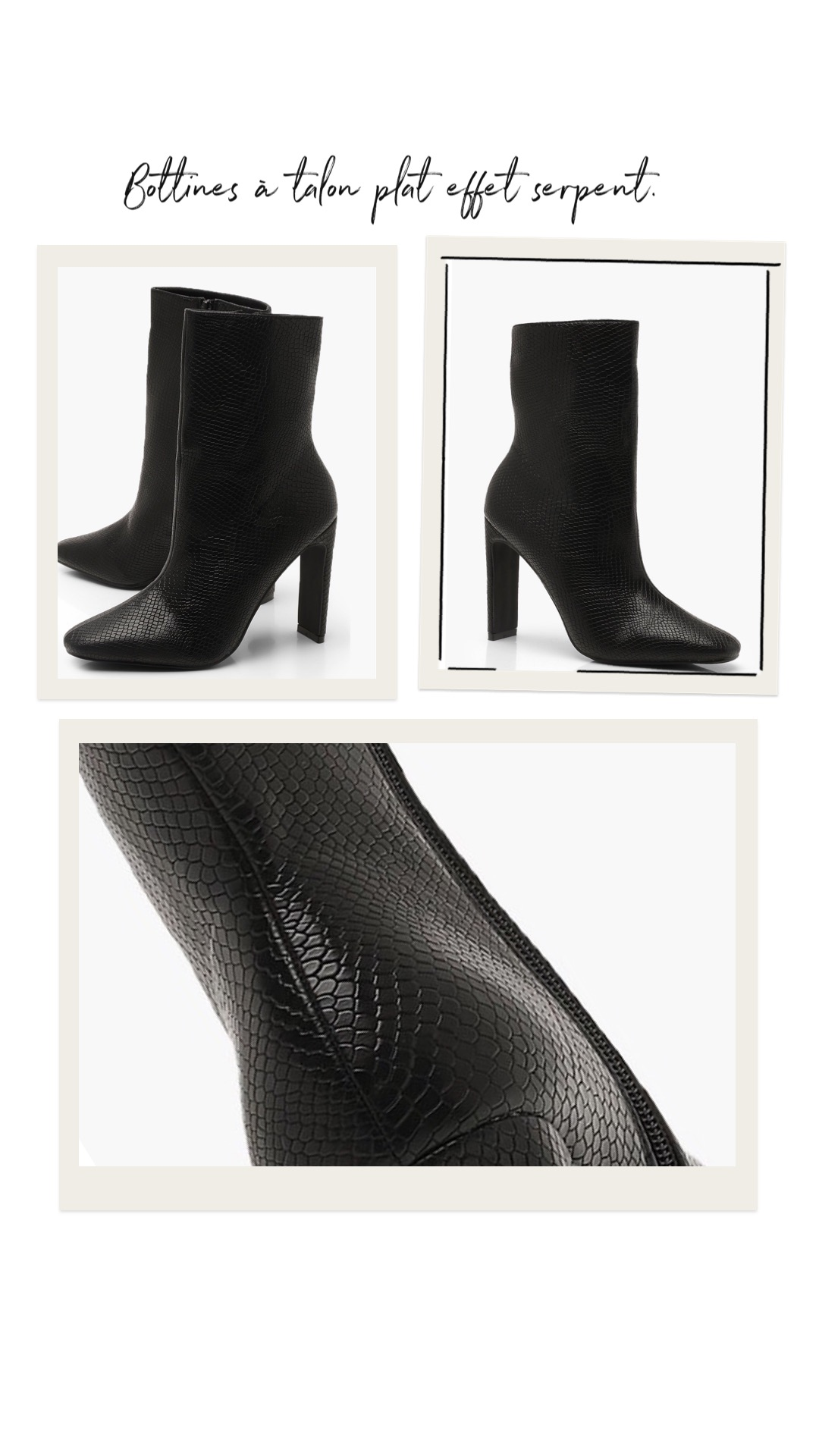Bottines à talon plat effet serpent https://fr.boohoo.com/bottines-a-talon-plat-effet-serpent/DZZ12469.html Code produit : DZZ12469