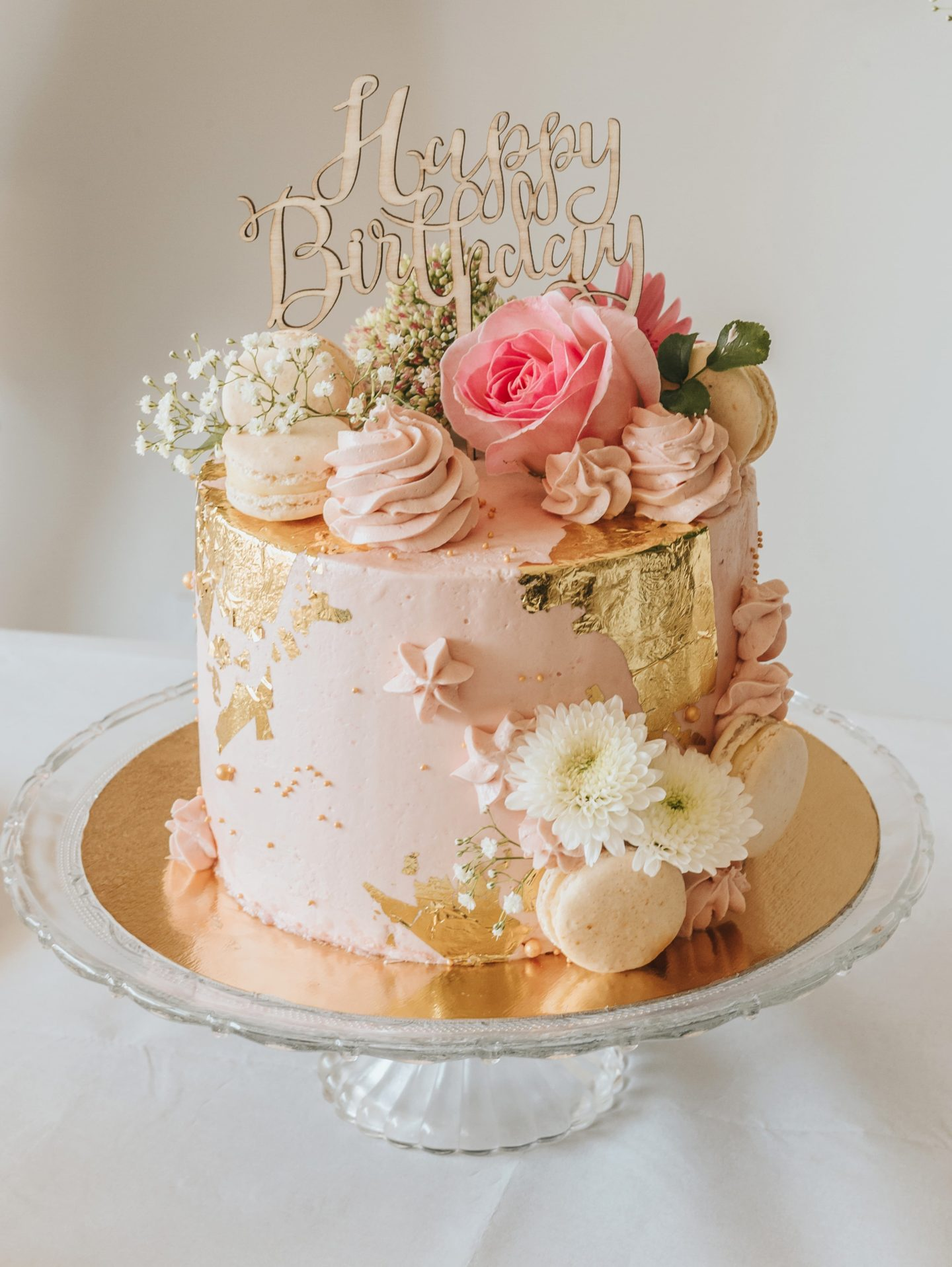 Birthday cake, decor, flower, rose.