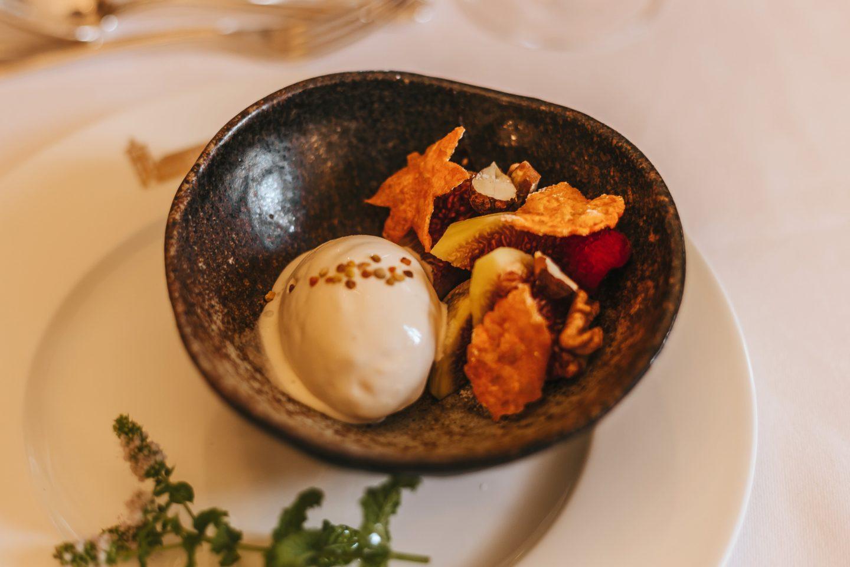 glace au miel, déjeuner Château Lagrange. Chef japonais.